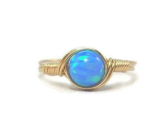 25% Off Sale Opal Wire Wrapped Ring 14k Gold Fill Custom Sized Faux Opal Manmade Opal