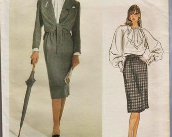 Vogue Paris Original 1299 / Vintage Designer Sewing Pattern By Chloe / Jacket Blouse Skirt Suit / Size 10
