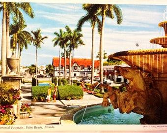 Vintage Memorial Fountain Palm Beach Florida Postcard
