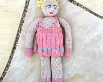 Vintage Handmade Doll Knitted Blond Yarn Hair