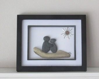 Two People Sea Glass Art, Love Art, Couple Art, Beach Glass Art, Wedding Gift, Anniversary Gift, Gift for Her, Valentine Gift