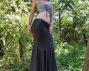 NEW: The GunMetal Gray Faux (Vegan) Leather Mermaid Skirt by Opal Moon Designs (Sizes S-XL)