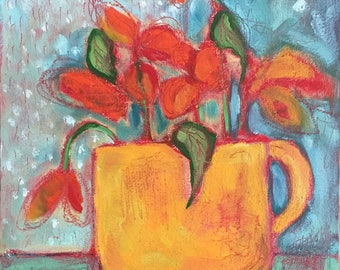 Oil Painting florals in coffee cup ready to hang original expressionist