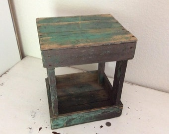 Rustic Stand, Stool, Foot Rest, Crate, Chippy Green Paint