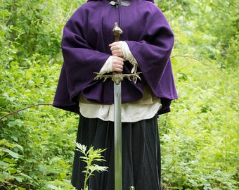 Purple Cape - Wool Cape - Mid-Length Cape - Cape With Hood - Hooded Cape