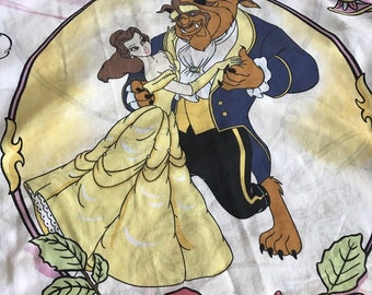 Vintage Beauty And The Beast Flat Twin Sheet...Great For Use or Cutter
