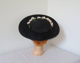 Late 1940s Early 1950s Hat - New Look Wide Brimmed Hat with Flowers and Netting