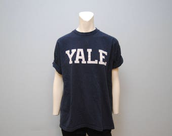 Vintage Yale University T-Shirt Navy Blue and White Tee College Tshirt Basic Size Large 1990's Ivy League School New Haven Connecticut