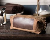 Waxed Canvas Dopp Kit: Personalized, Expandable, Water-Resistant, Hanging Toiletry Bag, Travel, Brown - No. 321 (Made in the USA)