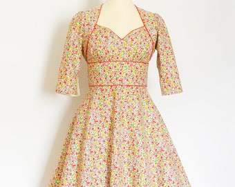Mustard & Pink Vintage Ditsy Floral Tea Dress and Matching Bolero - Custom Made by Dig For Victory!