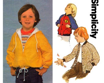 Simplicity 9819 Retro Toddler Boys Jacket  with Zip Front & Optional Hood 80s Vintage Sewing Pattern Size 4