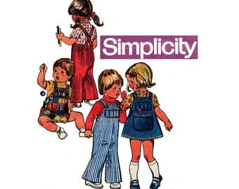 Toddler Baby Overalls Rompers & Jumper Simplicity 6051 Vintage 70s Sewing Pattern Size 1 Breast 20 inches