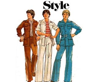 Style 1826 Mens Safari Suit Leisurewear Pants & Jacket 70s Vintage Sewing Pattern Size Chest 42 inches