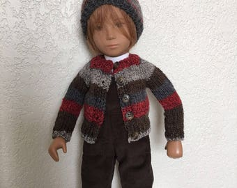 Brown Corduroy Overalls Set, Cardigan, Hat, Socks, Mittens, Scarf, Monkey for Sasha or Gregor: 8 Pieces