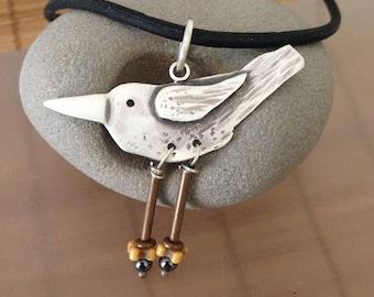 BIRD necklace, Take Flight necklace, sterling silver, copper, hematite