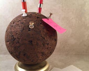 Retro Pencil Holder Cork Ball Memo Note Holder MCM Desk Accessory Ketcham McDougall Bulletin Ball
