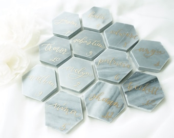 "Carrara Pietra Gray Marble Hexagon Tile Place Cards - 2"" Calligraphy Escort Place Card"