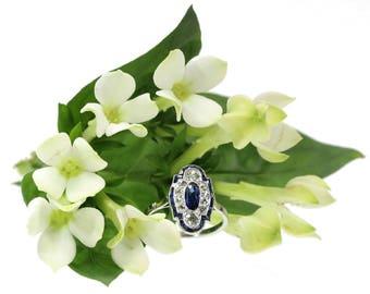 Sapphire Ring, Blue sapphire diamond ring platinum center sapphire .70ct old European cut diamonds .34ct Art Deco engagement ring