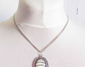 Antique Silver Ouija Board Cameo Necklace, Antique Silver Ouija Necklace, Ouija Board Necklace, White Ouija Board Necklace, Occult Gift