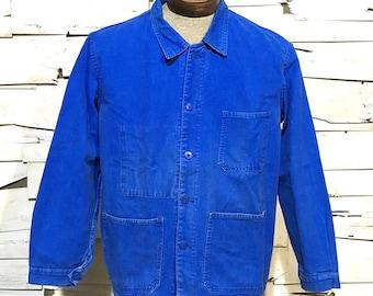 Vintage Work Jacket Work Royal Blue Chore Coat (OS-EWJ-16)