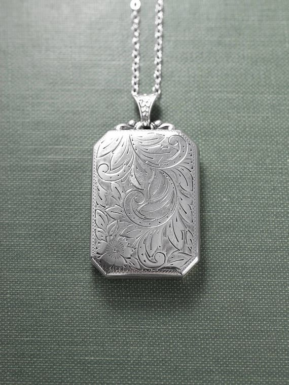 Large Sterling Silver Book Locket Necklace, Unique Vintage Rectangular Photo Pendant - Adornment