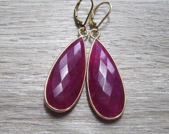 Genuine Ruby Earrings, 24K Gold Vermeil Bezel Set Stones, July Birthstone Jewelry,  Large Ruby Earring