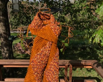 Hand-Knit Multidirectional Diagonal Scarf