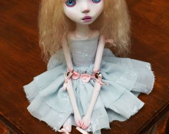 Handmade Collectible Unique -OOAK- Clay poseable Art doll -Amelia
