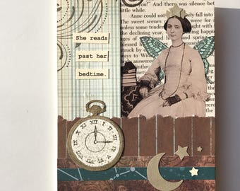 Handmade Card - Reads Past Her Bedtime - collage - vintage Anne of Greeen Gables page -- friendship, birthday, thinking of you