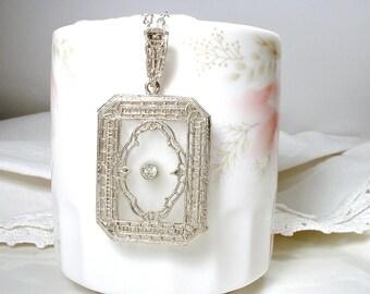 ANTIQUE Camphor Glass Pendant Necklace, Edwardian Silver Paste Rhinestone Bridal Necklace, Art Deco 1920s Flapper Vintage Wedding Jewelry