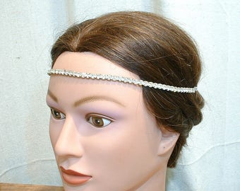 TRUE Vintage 1920's Gatsby Headband, Art Deco Bridal Forehead Band, Wedding Rhinestone Hair Vine Chain Downton Flapper Hairpiece Halo 30s