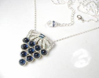 Antique Art Deco Sapphire Bridal Necklace, 1920s Silver Navy Blue Pave Rhinestone Pendant Vintage Wedding Dress Clip Gatsby Flapper