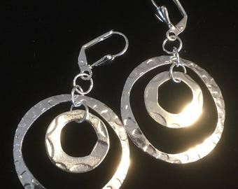 Double Circle Earrings . Lever Back