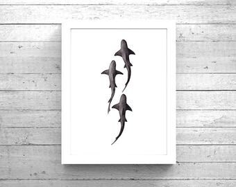 School of Sharks Watercolor Instant Download, Watercolor Shark Digital Download Print, Shark Art, Shark painting, Watercolour Shark Charcoal