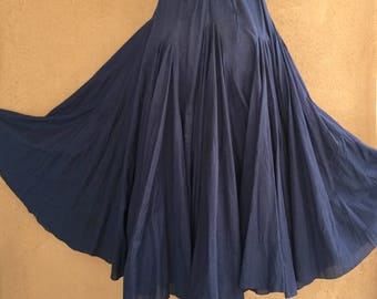 Vintage 80's - Very Very Full Adjustable Midnight Blue Cotton Skirt
