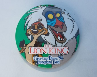 The Lion King Character Dining '94 Disneyland Hotel Pin Back Button 3 Inches