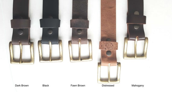 "Distressed Leather Belt & Gold Buckle ~ Custom Cut ~ Grooms and Groomsmen's Gift 1-1/2"" Belt with snaps for Jean or 1-1/4"" Belt for Suit"