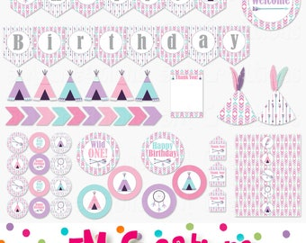 Girl Tribal Birthday Party Decor - Wild One First Birthday Printable Party - Pink Purple Aqua - Arrows Teepee Dream Catcher INSTANT DOWNLOAD