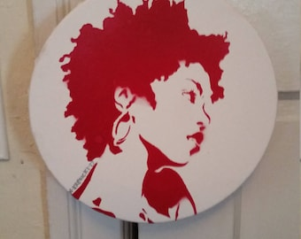 Ms Lauryn Hill the Fugees art  painting street art spray paint stencil  record store art Rainbow Alternative