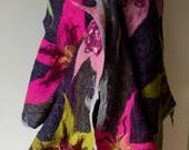 nuno felted shawl, felted wool scarves, grey shawl, Fabulous Flowers gray purple green pink, silk, wool, lagenlook made to order artsy OOAK