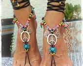 Yogi PEACE sign BAREFOOT sandals Bikini feet Silver Om symbol YOGA jewelry Crochet Toe anklet Black sandal Garden wedding footwear GPyoga