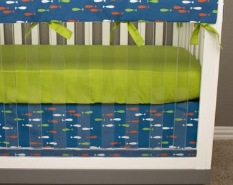 Outdoor, Fishing, Camping Bumperless Crib Bedding, Baby Bedding, Baby Boy Nursery Crib Set, Orange, Lime Green, Navy, Fish, Boy Nursery