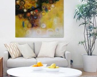 "mustard yellow black art,print from my original 12x12"" to 30""x30"" bright bold statement print reproduction wall decor, mustard yellow art"