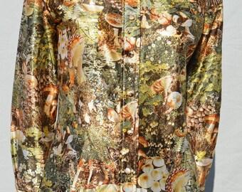 Vintage 70's LANVIN blouse shirt MUSHROOMS print photo print hallucinogenic MAGIC mushrooms size 10 hippie by thekaliman