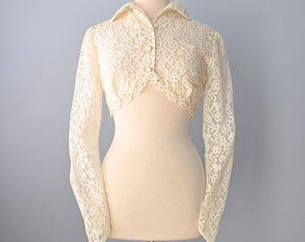 1950s Lace Bolero Jacket...Beautiful Sheer Ivory Lace Bolero Jacket Wedding Coverup