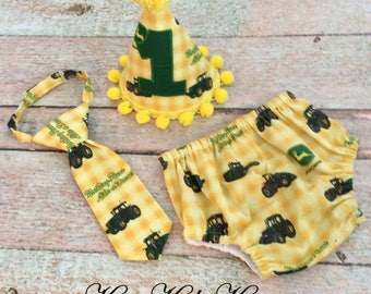 Baby Boy's Diaper Cover and Necktie, John Deere, Sizes 12M and 18M, Photo Prop, READY TO SHIP