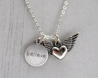 Winged Heart Necklace, Believe Pendant, Guardian Angel, Heart Charm, Sterling Silver Necklace, Hope, Winged Heart Charm, Believe Charm