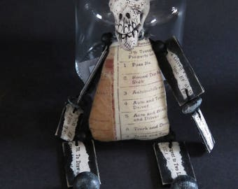 OOAK Klopp Original Folk Skeleton Gothic Skull Goth Macabre Creepy Cute Curiosity Cabinet Repurposed Assemblage Art Doll Stuffed