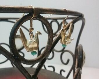 Gold Paper Crane Dangle Earrings Minimalist Earrings