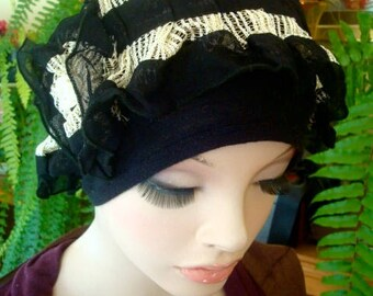 womens hat chemo hat soft frilly cosy black and cream